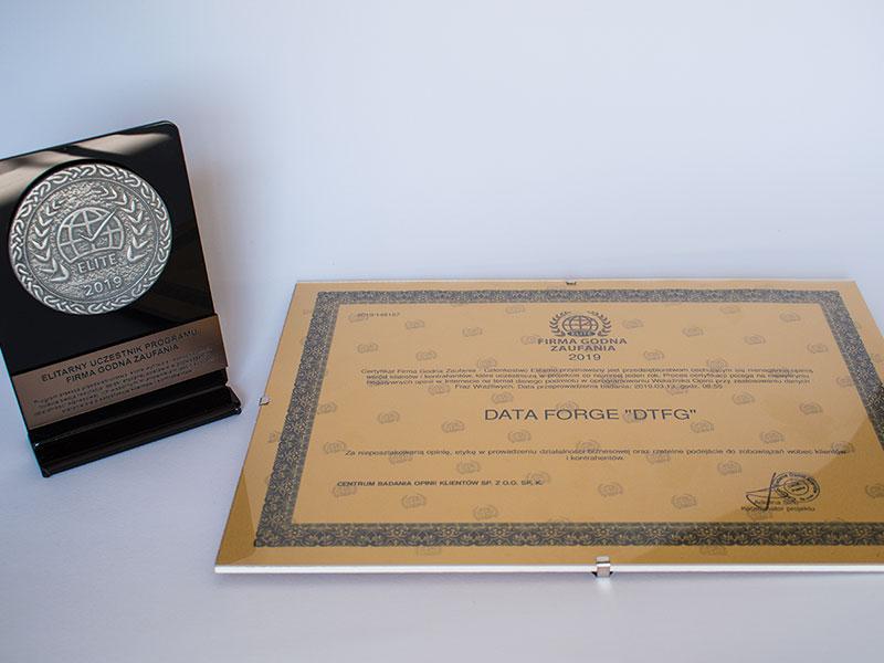 Certyfikat Firma Godna Zaufania dla Data Forge